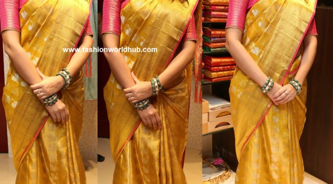 Lavanya Tripathi in Yellow Kanchi pattu saree!