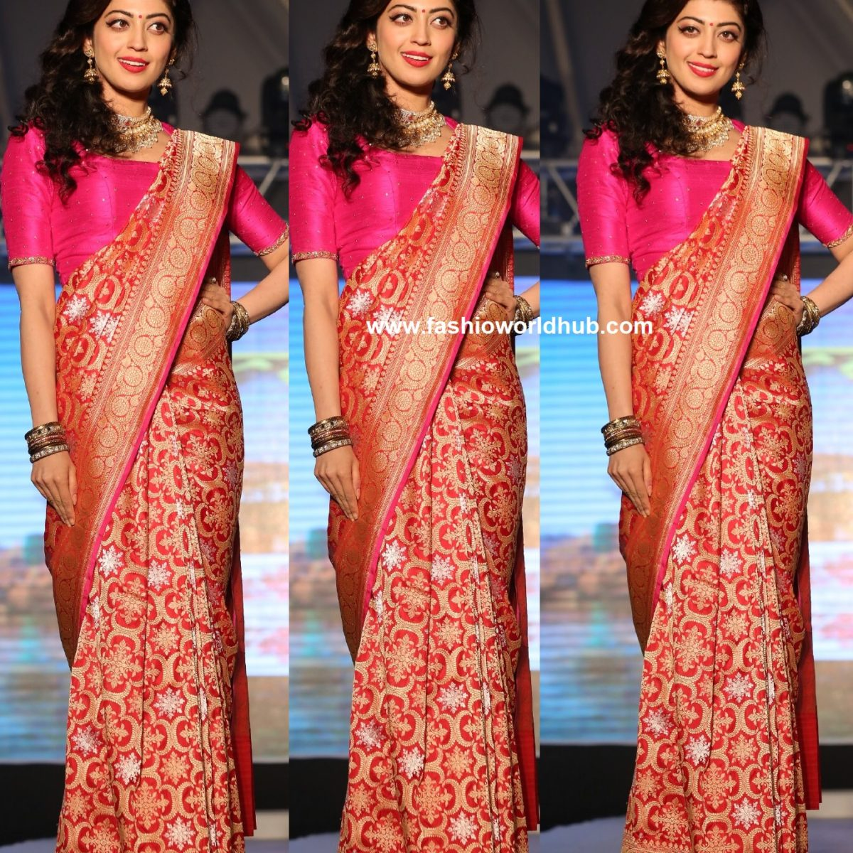 Pranitha Subhash In Pastel Blue Ruffle Saree
