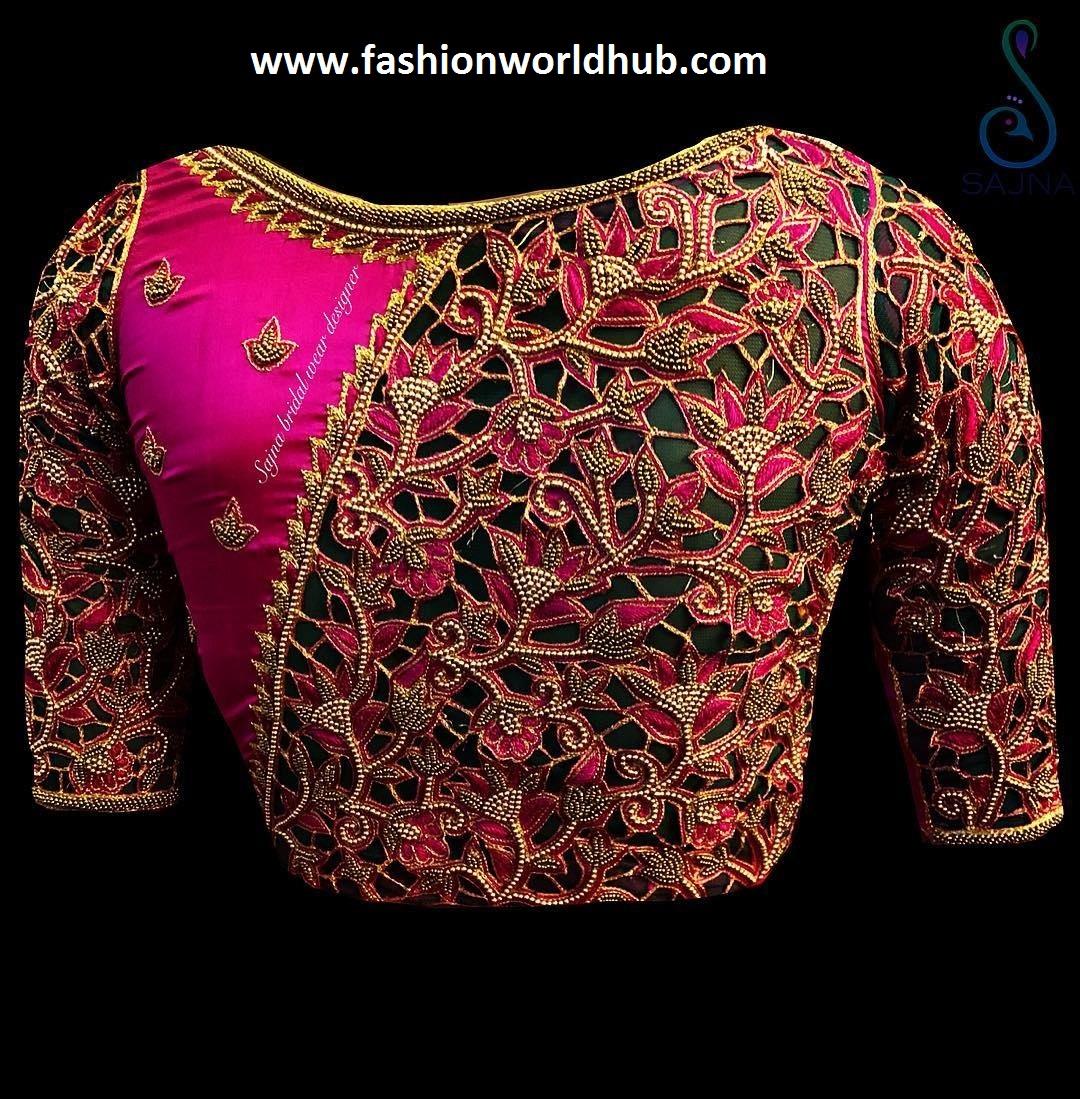 1149b59545965 50 Mind blowing Maggam work blouse designs!
