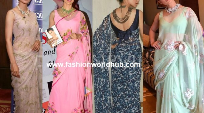 Chiffon sarees at its best when worn like the Fashion Queen: KANGANA