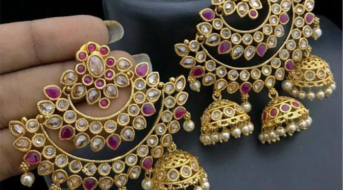 Gold plated Kundan jumkhas