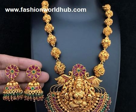 One gram gold gundla haram with lakshmi pendant!
