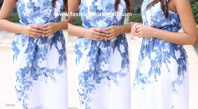 Varshini Sounderajan in White and blue floral frock!