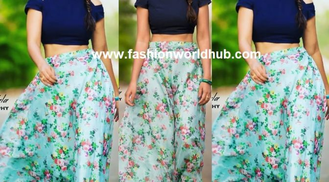 Bhanu Sri in Long skirt and crop top by Swapna Paidi