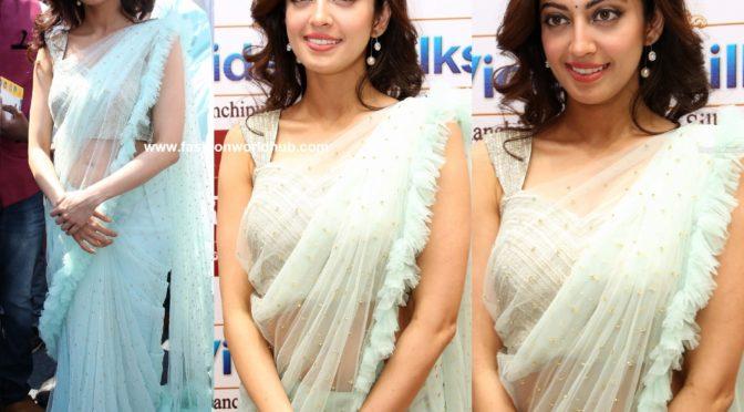 Pranitha Subhash in Pastel blue Ruffle saree!