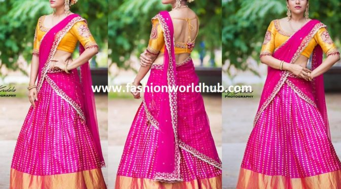Rashmi Gautam in Pink Kanchi pattu Lehenga!