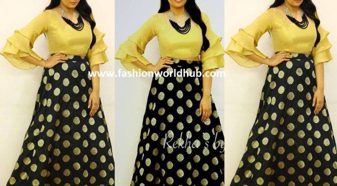 761047f0e Anchor Sreemukhi in Black Printed Skirt! | Fashionworldhub