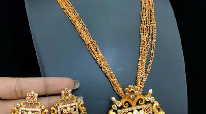 One gram gold long Chain with Ear rings