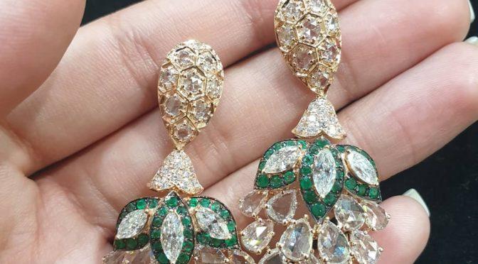 Diamond emerald Rose cut Earrings!