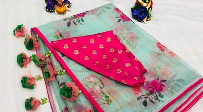 Mind blowing Floral Organza and Chanderi sarees with Designer blouse by Suneetha designer boutique!