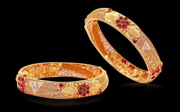 Antique Gold Bangles by Vaibhav Jewellers
