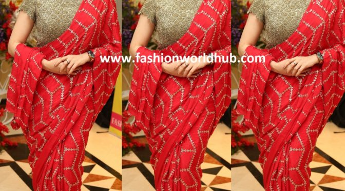 Actress Archana in Red embroidery saree!