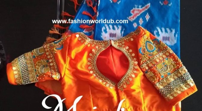 Blue ikkat pattu saree with kasu work blouse by Mrinal!