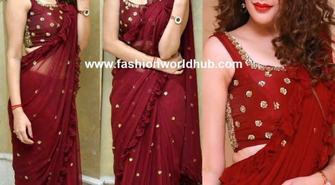 Diksha Panth in a ruffle saree