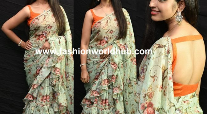 Anchor Shyamala in Floral print ruffle saree!