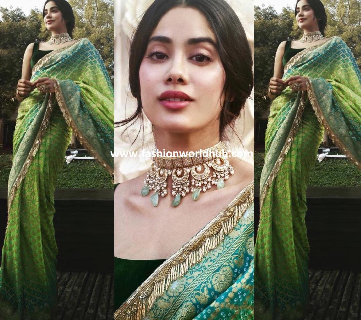 Janhvi Kapoor In Manish Malhotra Saree Fashionworldhub