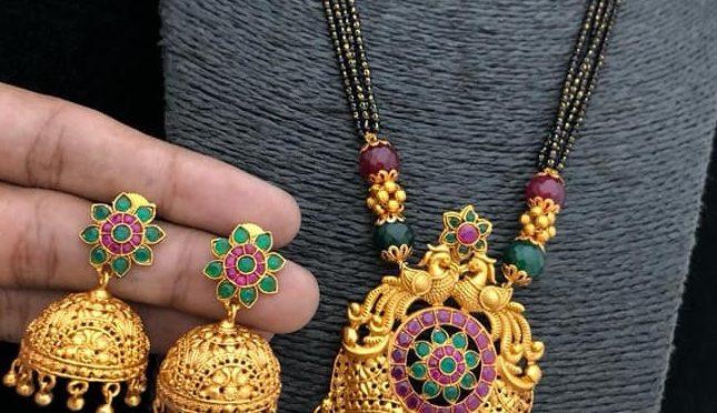 One gram gold black beads chain with matt finishing locket!