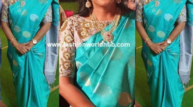 Actress Roja in blue silk saree!