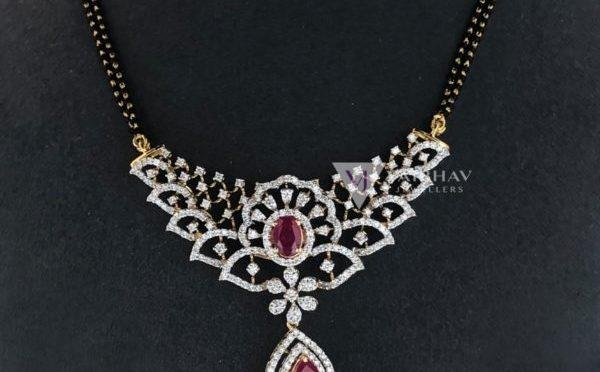 Black beads chains with diamond pendants