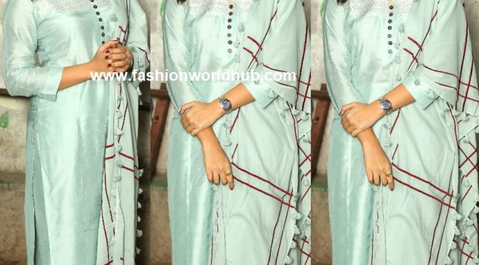 Anasuya in a Mint blue palazzo suit at F2 success meet