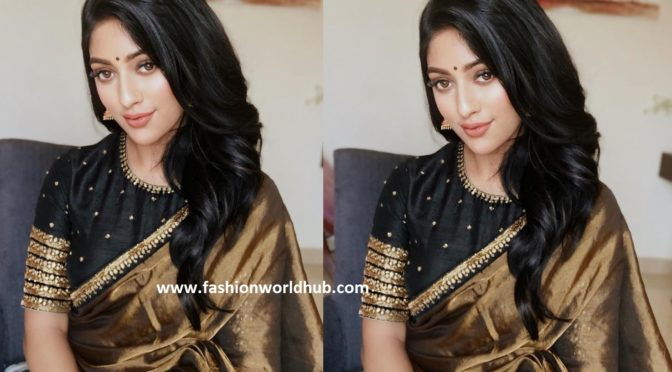 Anu Emmanuel in Golden tissue saree by Priya Design Studio