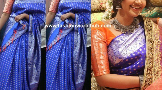 Anupama Parameswaran in blue kanjeevaram saree at Subhamastu Shopping Mall Launch