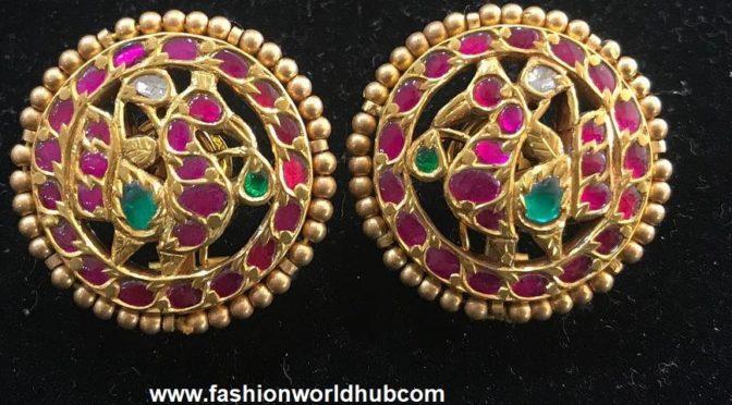 Ruby peacock ear studs!