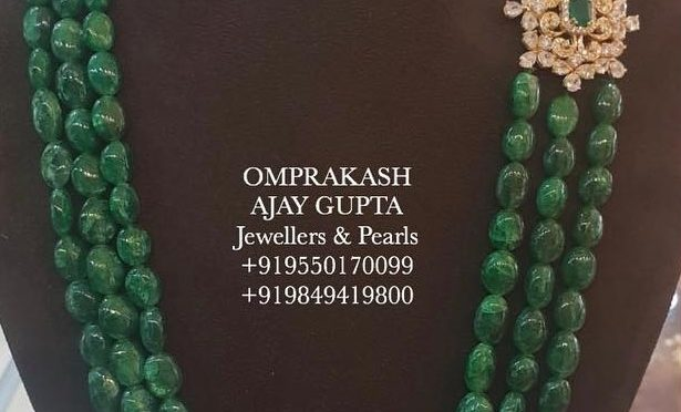 Emerald beads with side pendant!