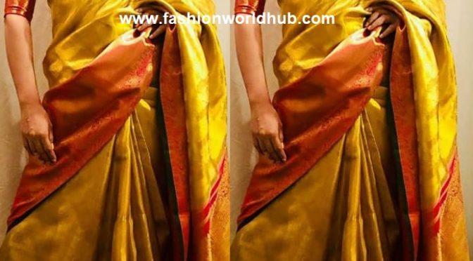 Kangana Ranaut in Pink Silk saree at Tamil Manikarnika Trailer launch