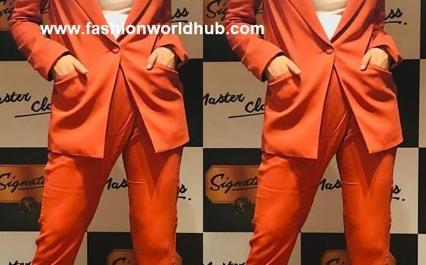 Kangana Ranaut in Orange Pant and suit by Michelle mason!