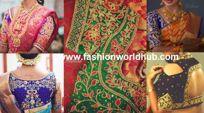 Awesome Aari embroidery work blouse designs by Ishithaa!