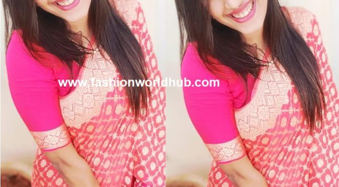 Niharika in Pink banarasi silk saree