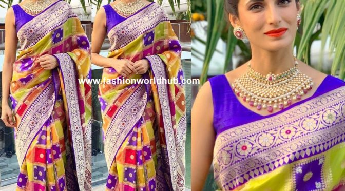 Shilpa Reddy in Multi colour Banarasi Silk saree by kankatala!