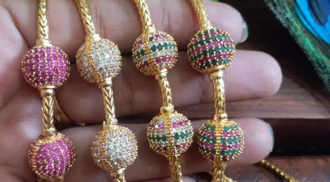 One gram gold Mangalsutra chains with side pendant!