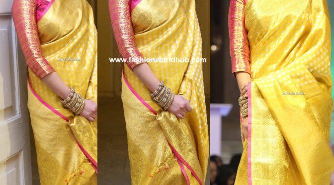Aditi Rao Hydari in Yellow kanjeevaram saree!