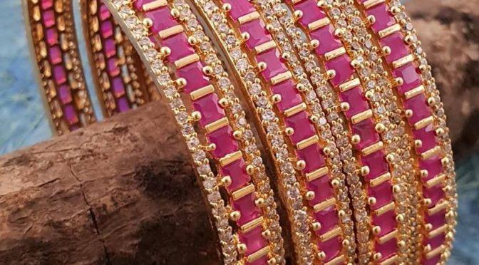 One gram gold CZ stone bangles!