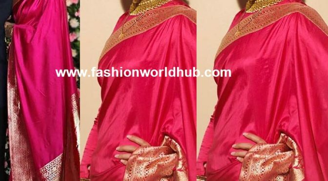 "Deepika padukone in Rani pink Brocade silk saree by ""Raw Mango""!"