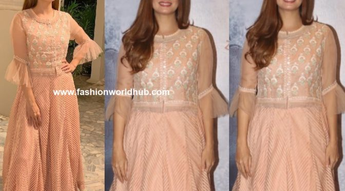 Dia Mirza in Peach Gown by Kotwara!