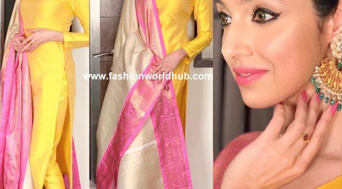 Divya khosla kumar in Silk kurta by Dasari parvathi!