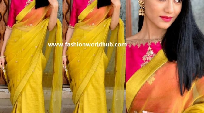 Amrita Rao in Yellow Organza Saree!