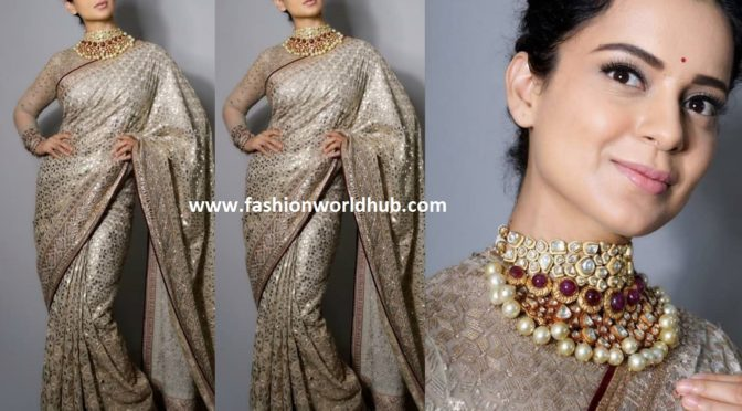 Kangana Ranaut in Tarun Tahiliani saree at Manikarnika music launch event!