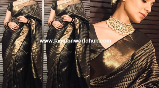 Kangana Ranaut in black silk saree for Manikarnika promotions!