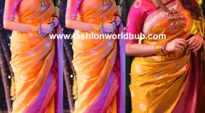 "Kiki Vijay in Yellow and pink silk saree by ""The S Studio"""