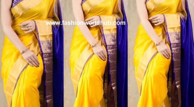 Nikki Galrani in a yellow silk saree at Charlie Chaplin 2 trailer launch