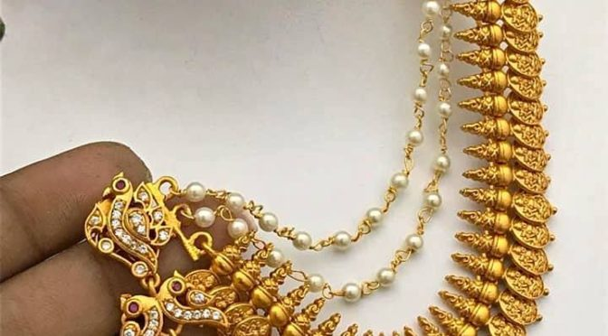 One gram gold jumkha with kasu side chain!