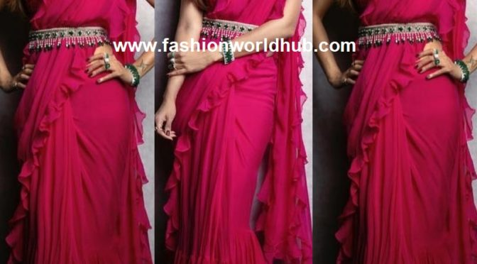Shilpa Shetty in a pink ruffle saree by Ridhi Mehra!