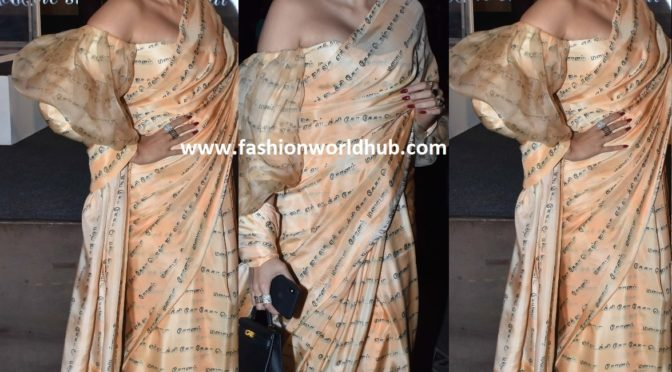 Sonam Kapoor in beige printed saree by Masaba