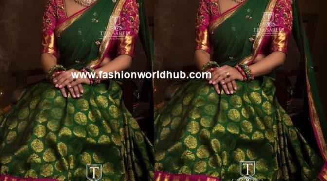 Sravana bhargavi in Half saree by Teja sarees!