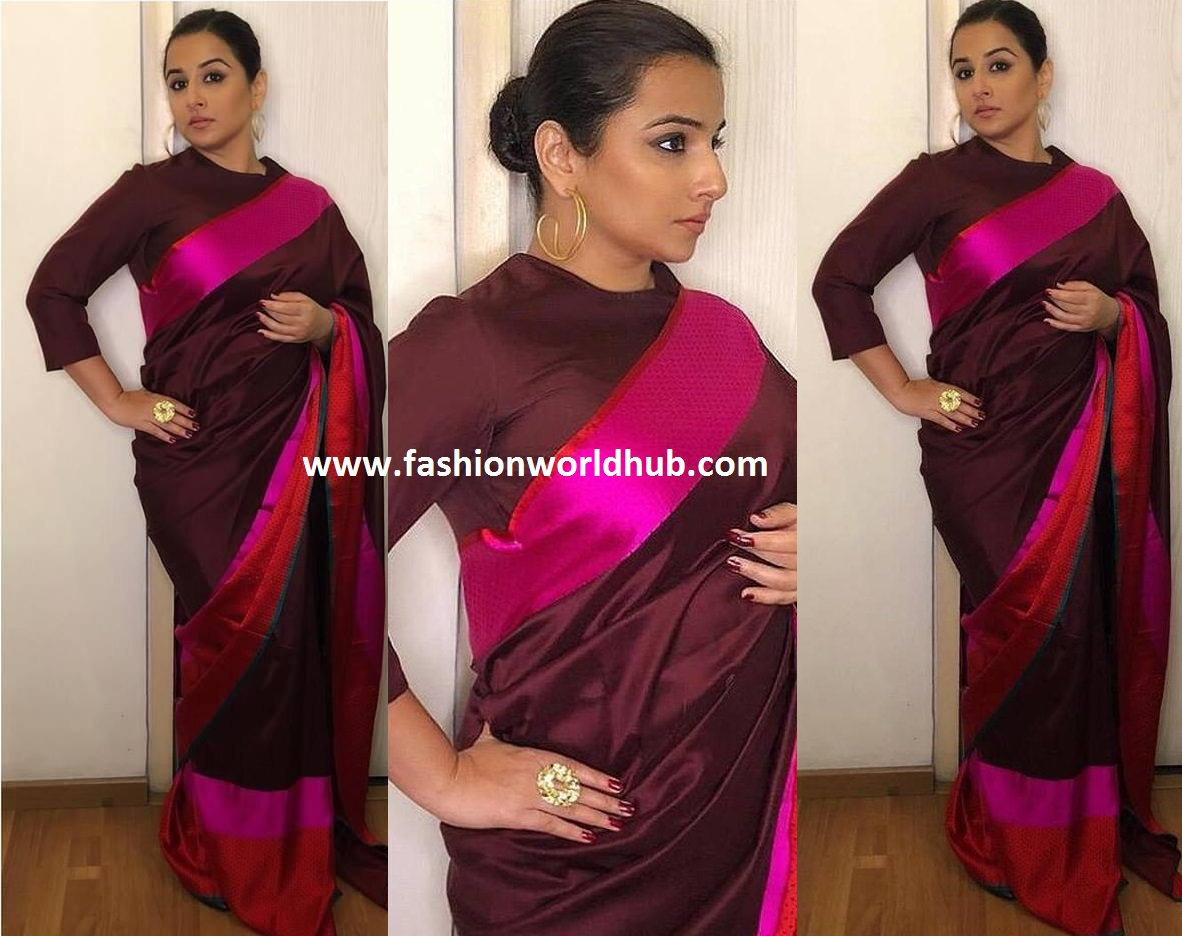 5c5b5320d7f980 Vidya Balan for the promotions of NTR Kathanayakudu , she was seen in silk  saree and blouse by Raw Mango silk saree . She kept the rest of her look  simple.