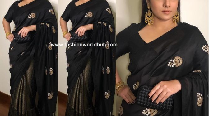 Vidya Balan in a black saree by Aroka!